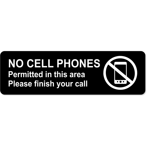 """No Cell Phones Permitted Engraved Sign   3"""" x 10"""""""