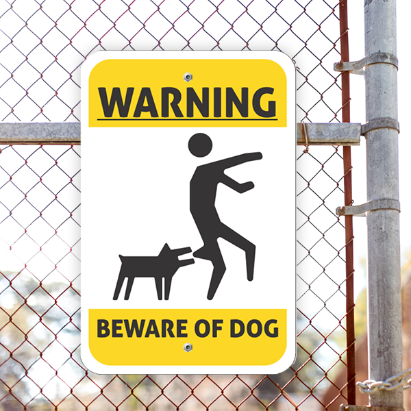 Illustrated Beware of Dog Vertical Sign Lifestyle Photo Outside