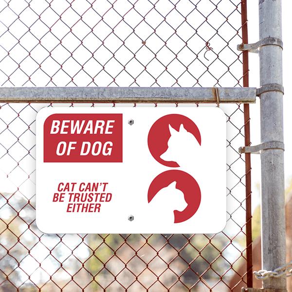 Beware of Dog and Cat Horizontal Sign Lifestyle Photo Outside