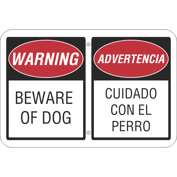 Beware of Dog English and Spanish Horizontal Sign