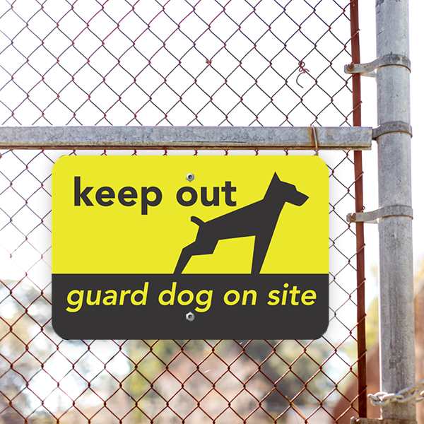 Keep Out Guard Dog Horizontal Sign Lifestyle Photo Outside