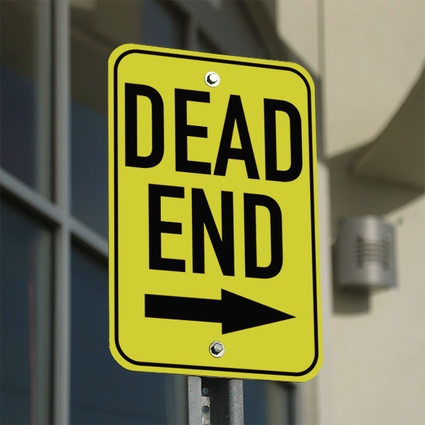 Mounted Vertical Right Arrow Dead End Sign
