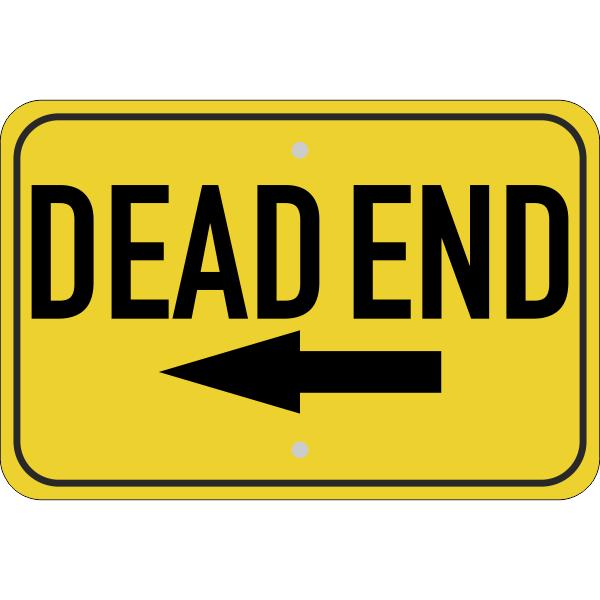 Horizontal Left Arrow Dead End Sign