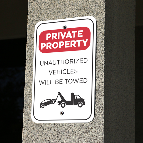 Mounted Vertical Tow Away Private Property