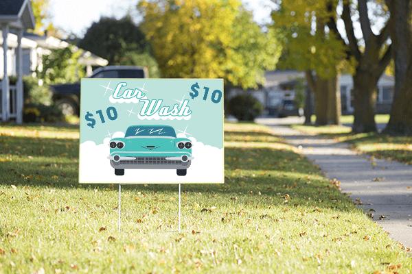 Mounted Vintage Car Wash Sign