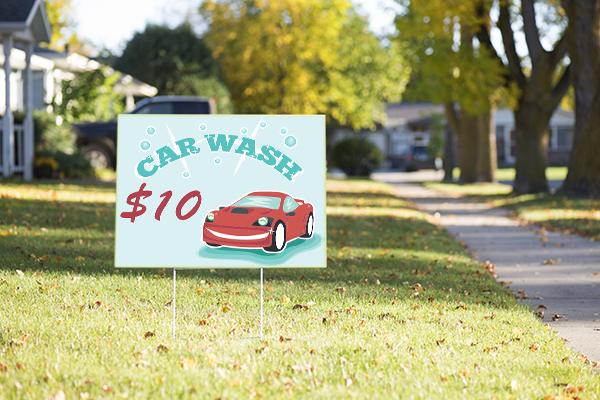 Mounted Sparkling Clean Car Wash Sign