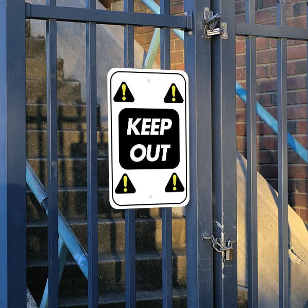 Mounted Vertical Repeated Icon Keep Out Sign