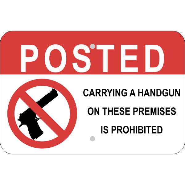 Horizontal Posted Handgun Prohibited Sign