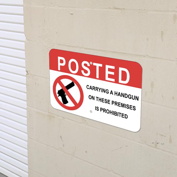 Mounted Horizontal Posted Handgun Prohibited Sign