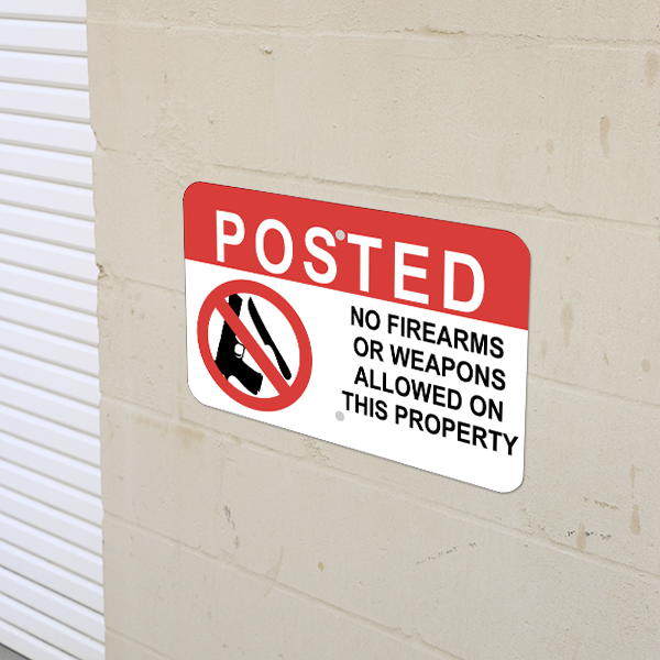 Mounted Horizontal No Weapons on Property Sign