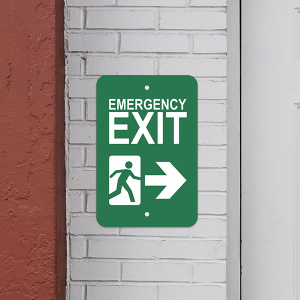 Mounted Vertical Right Arrow Emergency Exit Sign