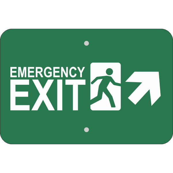 Horizontal Forward Right Arrow Emergency Exit Sign