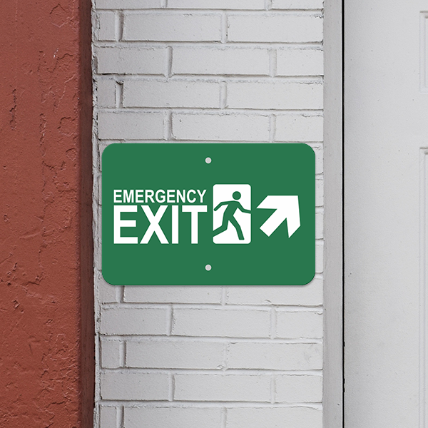 Mounted Horizontal Forward Right Arrow Emergency Exit Sign