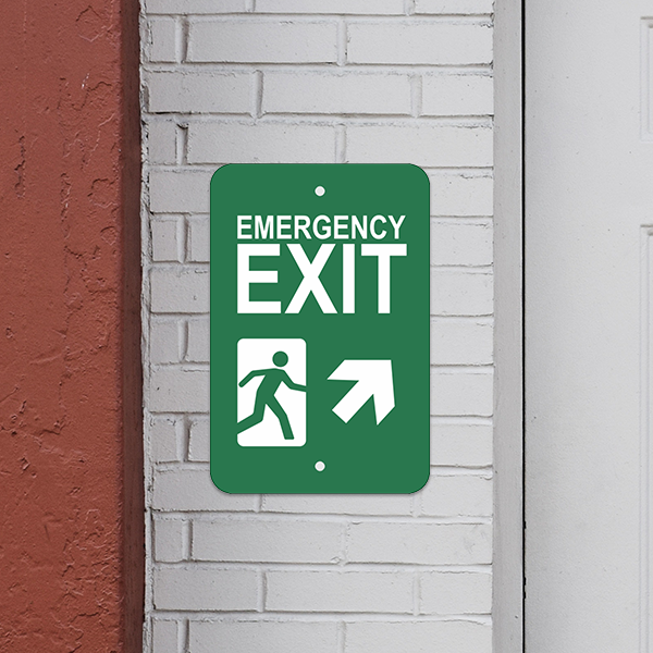 Mounted Vertical Forward Right Arrow Emergency Exit Sign