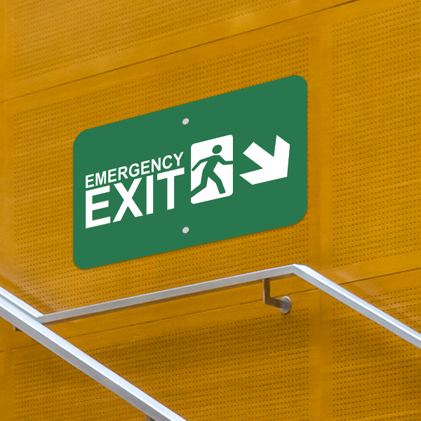 Mounted Horizontal Down Right Arrow Emergency Exit Sign
