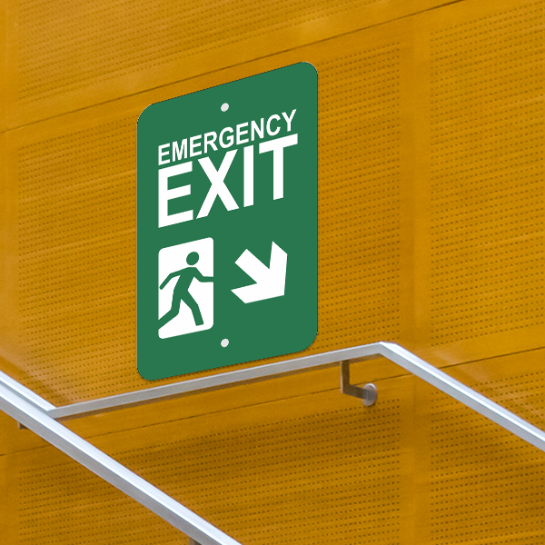 Mounted Vertical Down Right Arrow Emergency Exit Sign
