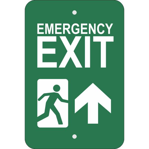 Vertical Forward Arrow Emergency Exit Sign