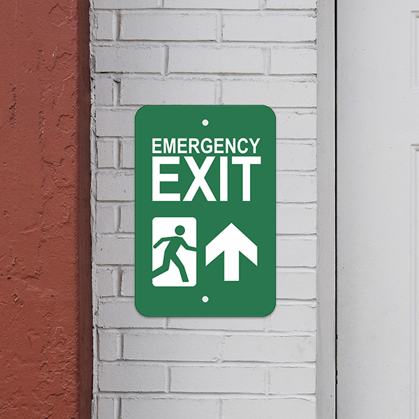 Mounted Vertical Forward Arrow Emergency Exit Sign