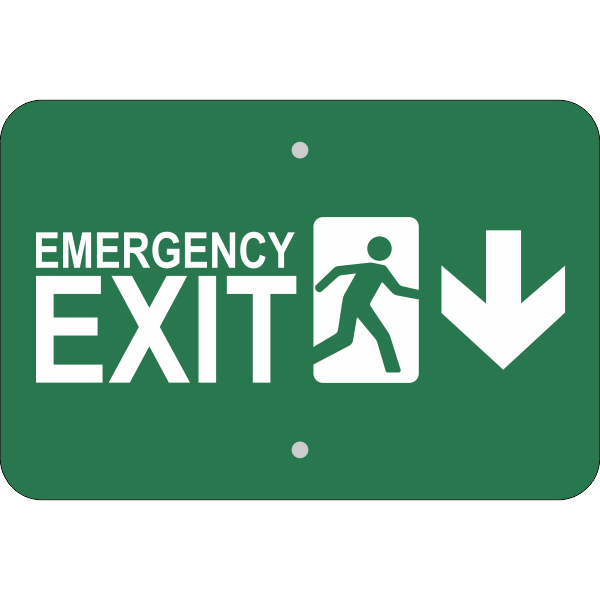 Horizontal Down Arrow Emergency Exit Sign