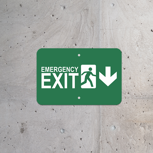 Mounted Horizontal Down Arrow Emergency Exit Sign