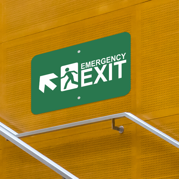Mounted Horizontal Forward Left Arrow Emergency Exit Sign