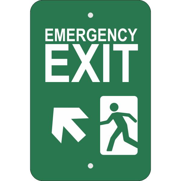 Vertical Forward Left Arrow Emergency Exit Sign