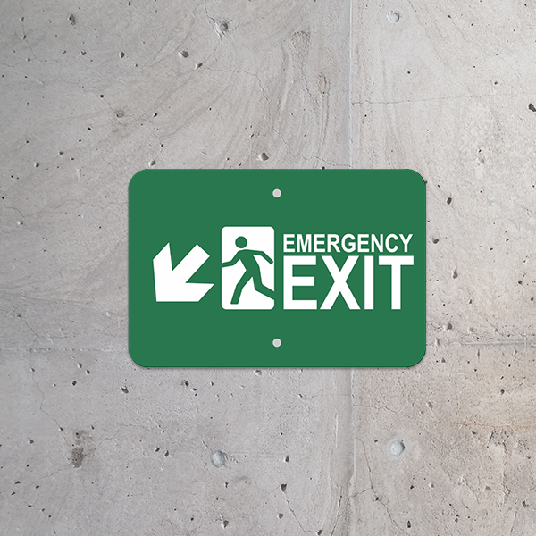 Mounted Horizontal Down Left Arrow Emergency Exit Sign