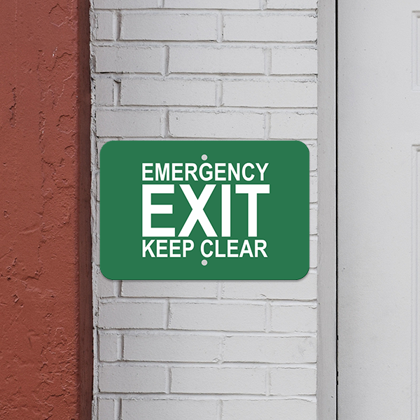 Mounted Horizontal Keep Clear Emergency Exit Sign