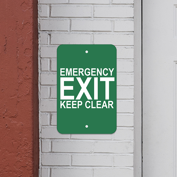 Mounted Vertical Keep Clear Emergency Exit Sign