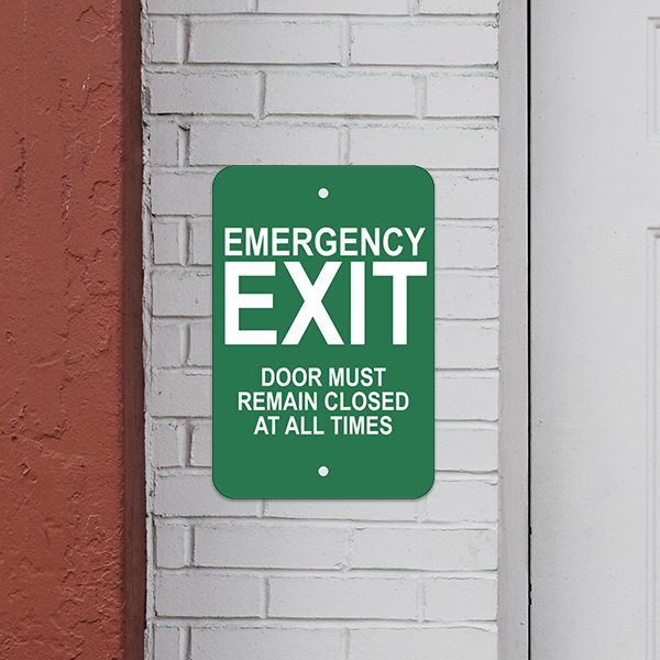 Mounted Vertical Keep Closed Emergency Exit Sign