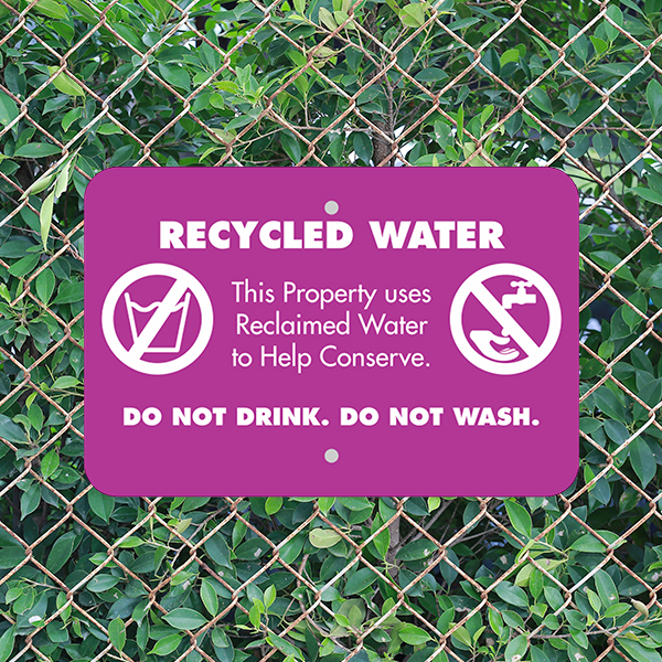 Mounted Horizontal Conserve with Recycled Water Warning Sign