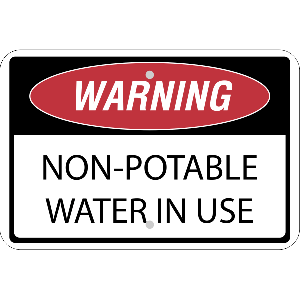 Horizontal Non-Potable Water Warning Sign