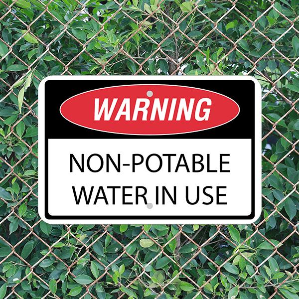 Mounted Horizontal Non-Potable Water Warning Sign