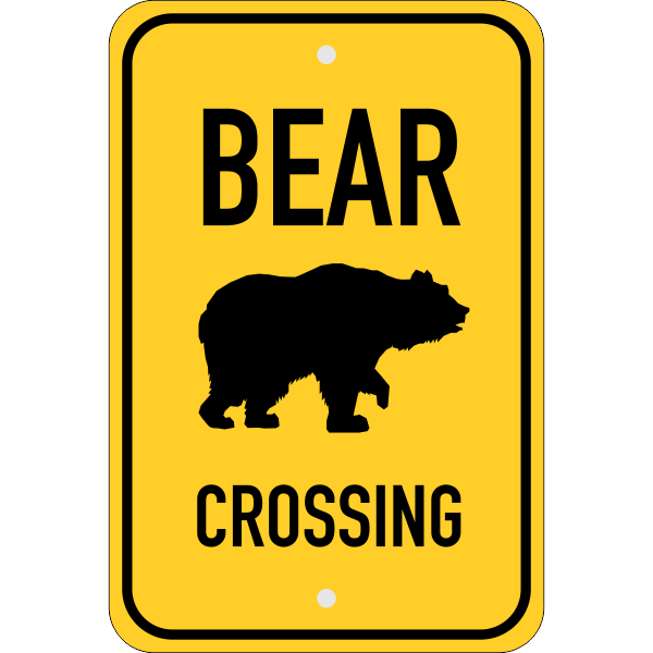 Vertical Bear Crossing Sign
