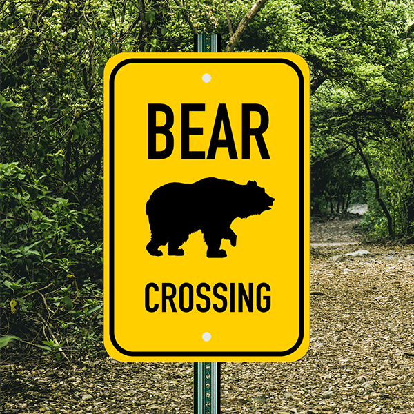 Mounted Vertical Bear Crossing Sign