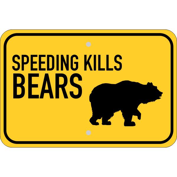 Horizontal Speeding Kills Bears Sign
