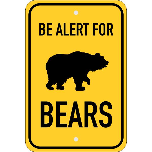 Vertical Alert For Bears Sign
