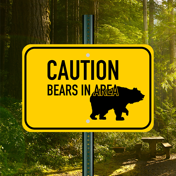 Mounted Horizontal Bears In Area Sign