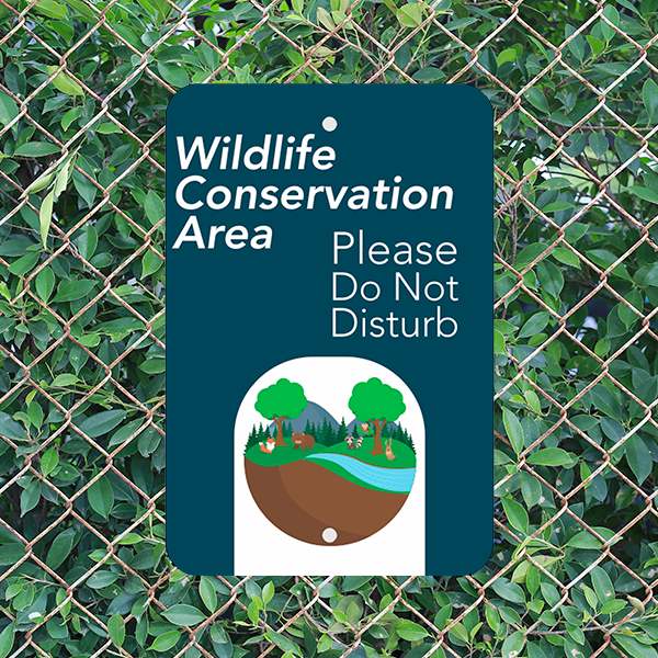 Mounted Vertical Wildlife Conservation Sign