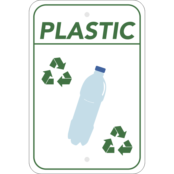 Vertical Plastic Recycling Sign