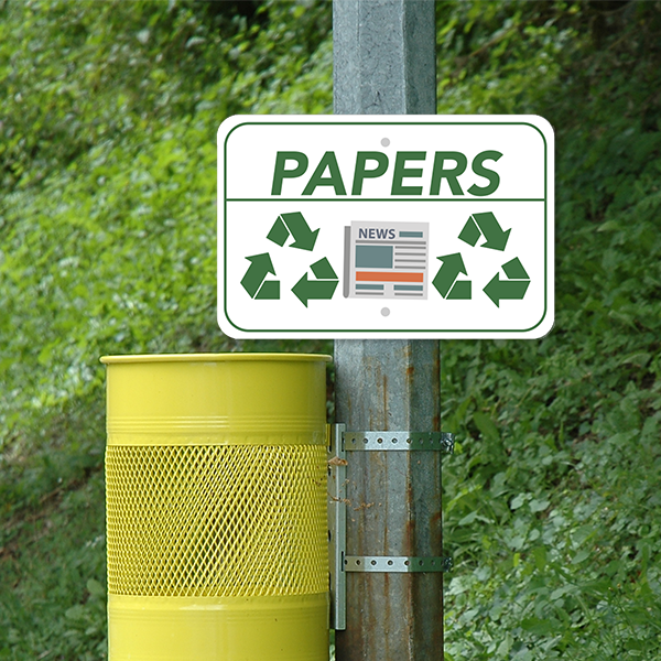 Mounted Horizontal Paper Recycling Sign