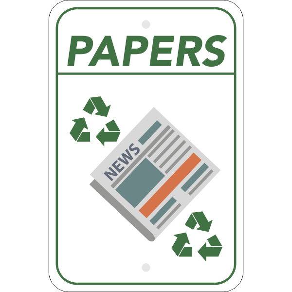 Vertical Paper Recycling Sign