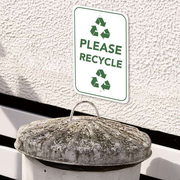 Mounted Vertical Please Recycle Sign