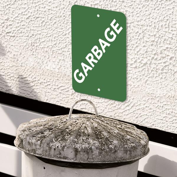 Mounted Vertical Green Garbage Sign