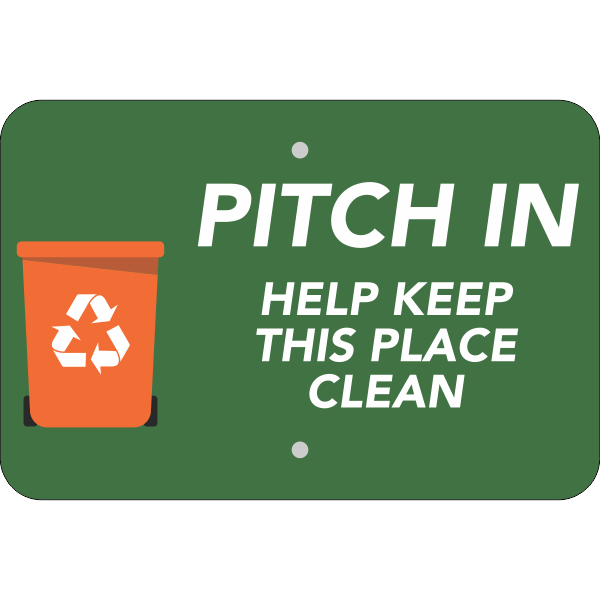 Horizontal Pitch In Recycling Sign