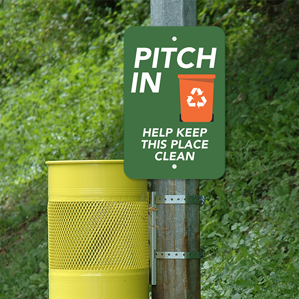 Mounted Vertical Pitch In Recycling Sign
