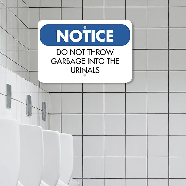 Mounted Horizontal No Garbage in Urinals Sign
