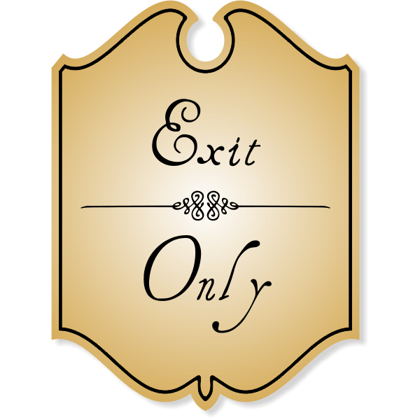 Shield Exit Only Sign with Vintage Style