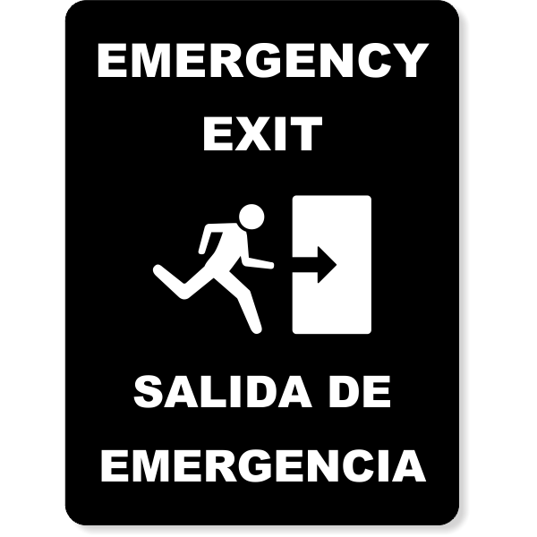 Bilingual Engraved Emergency Exit Sign