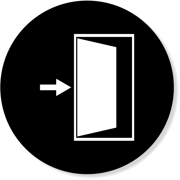 "4"" Round Enter / Exit Door Icon Decal"